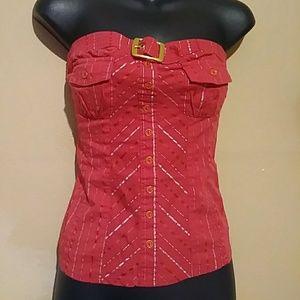 Red sleeveless tunic top